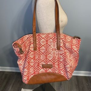 Lucky Brand canvas and leather tote bag.